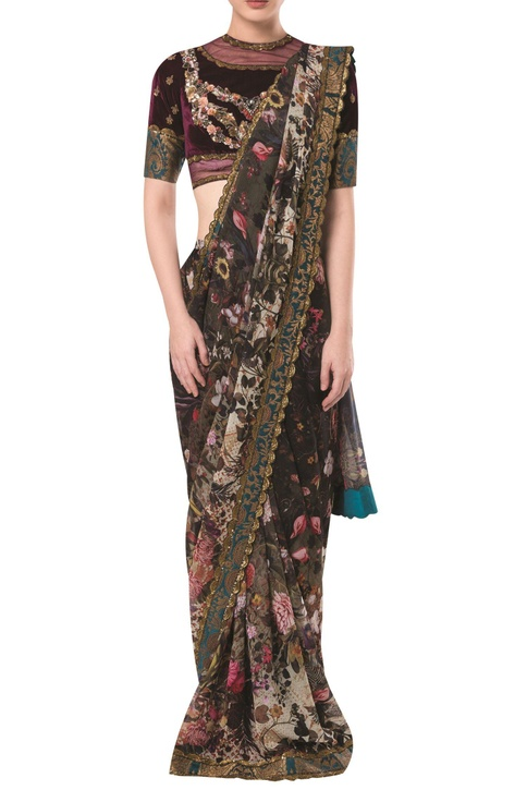 Brocade print sari with embellished blouse