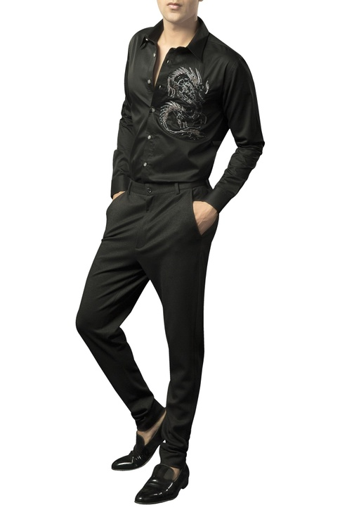 Lycra-wool fitted formal trousers