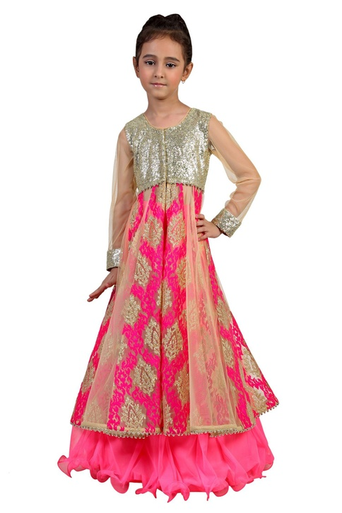 Floor length embroidered net gown