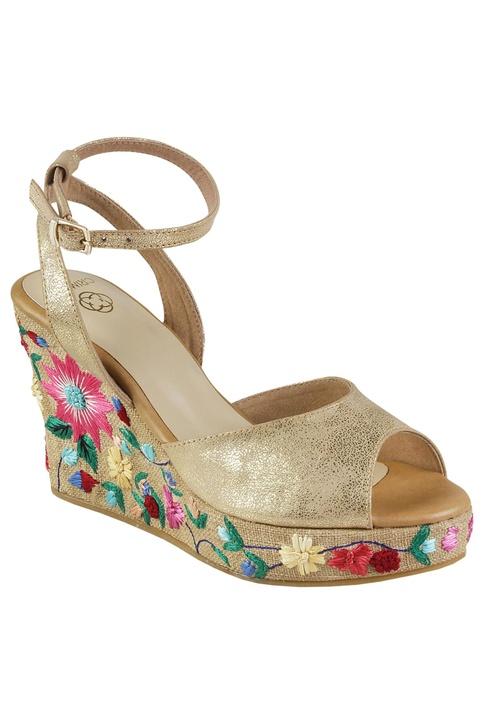 Floral embroidered peep-toe wedge heels