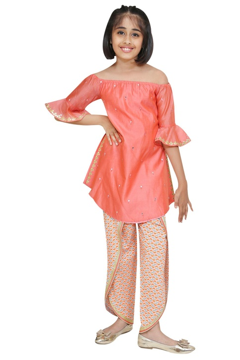 Mirror embroidered kurta with dhoti pants