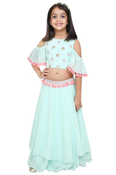 Cold shoulder sleeves blouse and lehenga