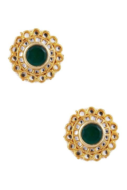 Pearl & kundan floral stud earrings
