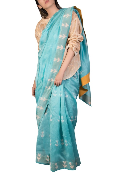 Chanderi clamp dyed sari
