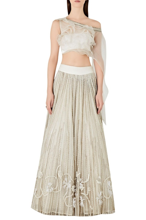 Ruffle cape with floral embroidered net lehenga