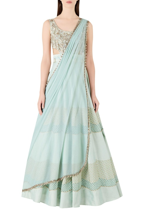 Embellished lehenga with embroidered blouse and dupatta