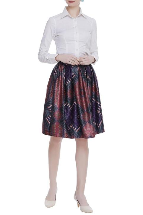 Box pleated satin skirt