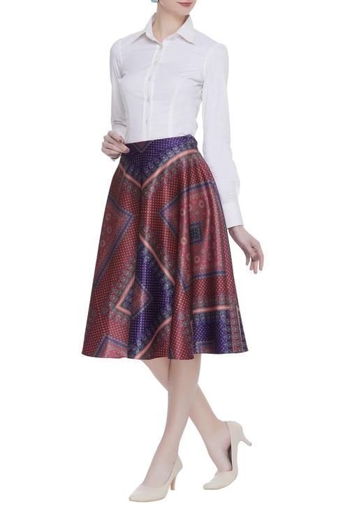 Satin pleated midi skirt