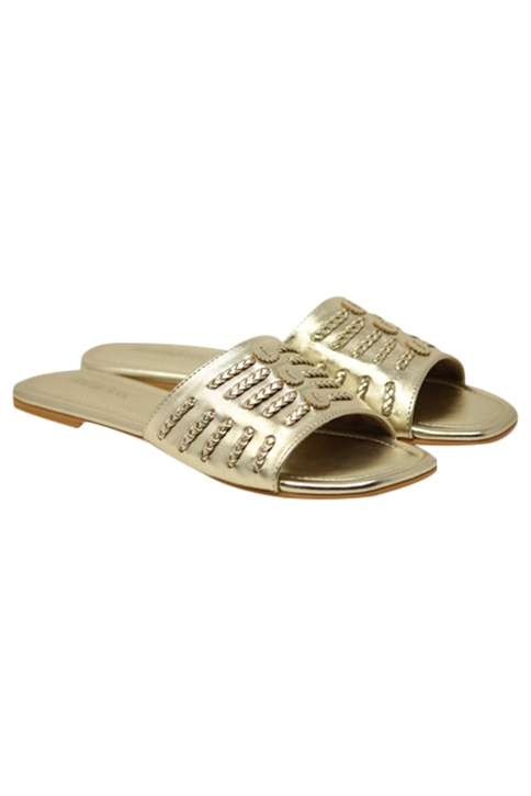 Slip-on wide strap flat sandals