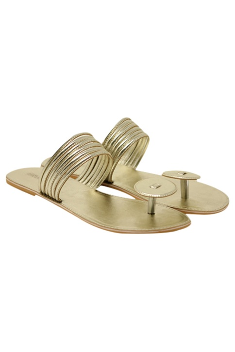 Leatherette slip-on sandals