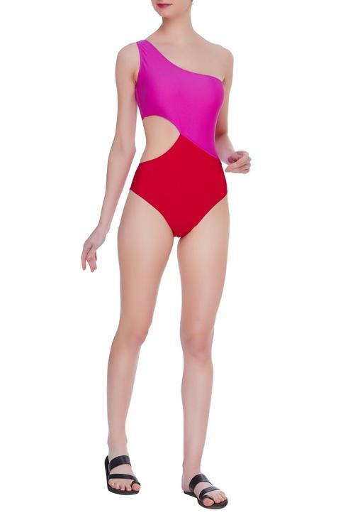 Color block one shoulder swimsuit