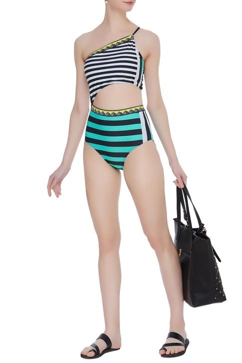Nautical stripe one shoulder monokini