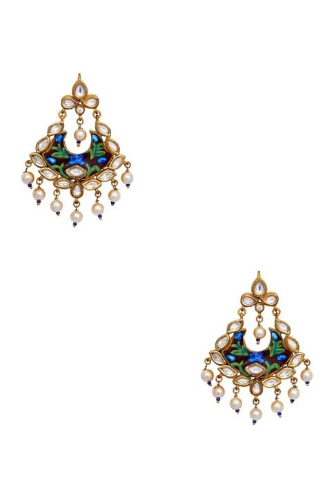 Meenakari painted earrings with dangling pearls