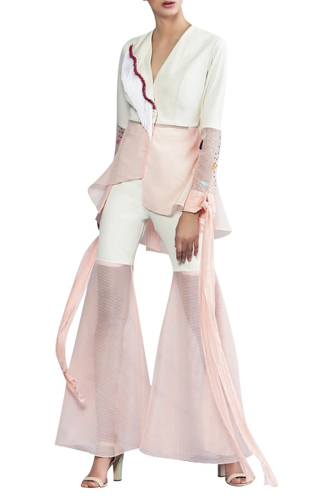 Asymmetric jacket with elongated sleeves