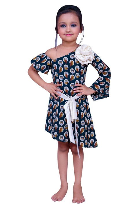 Owl printed short dress with bell sleeve