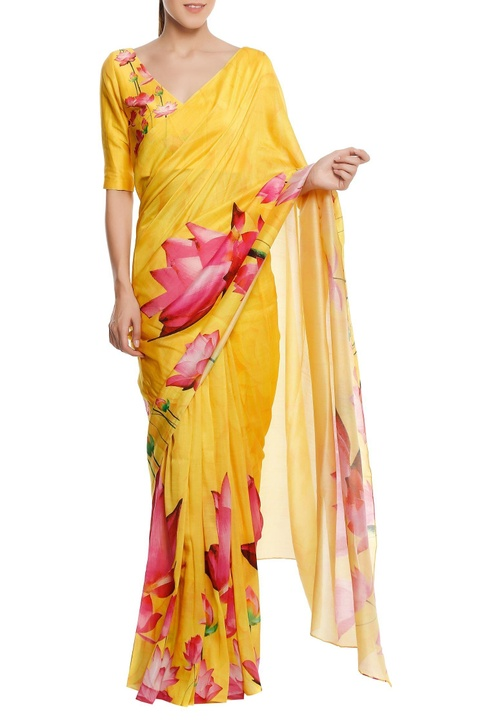 Chanderi lotus floral printed sari with blouse piece