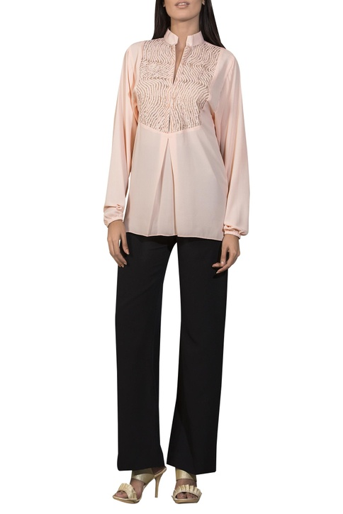 Laser stripe embroidered yoke blouse