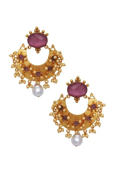 Statement earrings encrusted with stones & pearls