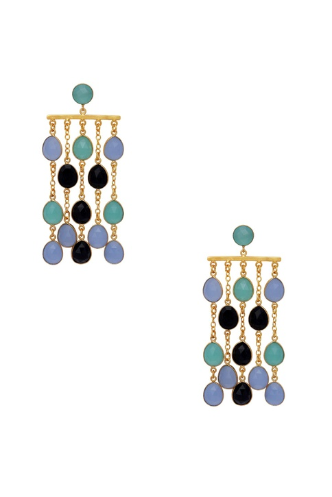 Drop earrings with gemstones