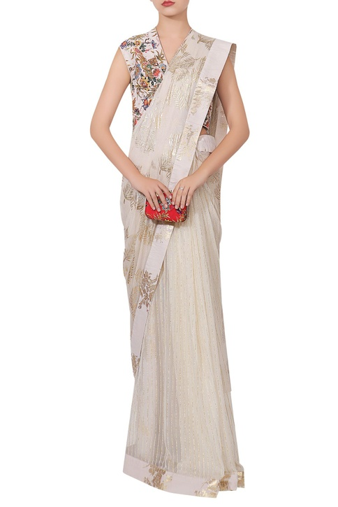 Chiffon sari with hand painted blouse