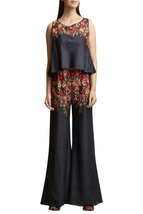 Floral embroidered sleeveless jumpsuit