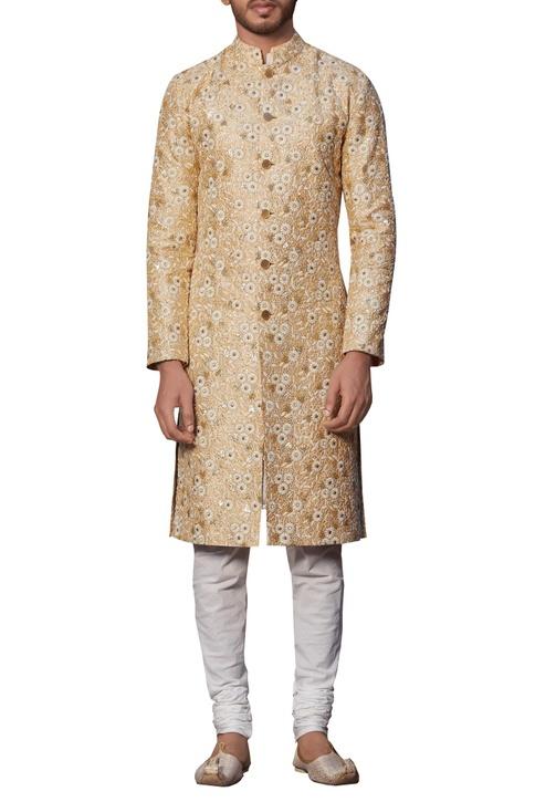 Embroidered sherwani with kurta & churidar