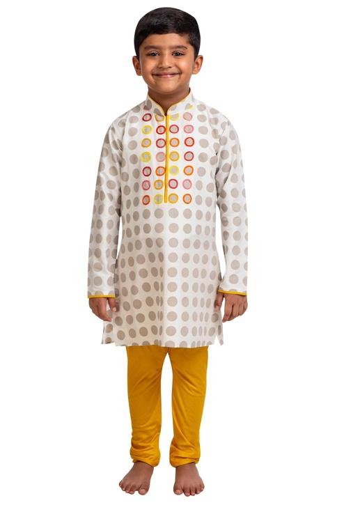 Polka dot embroidered kurta with churidar