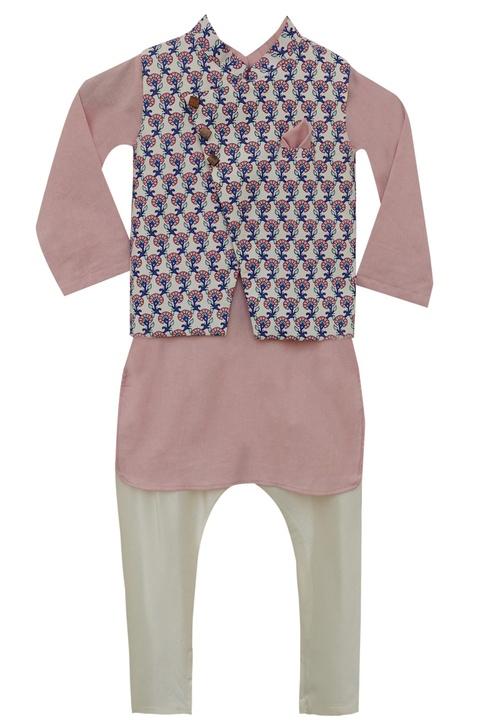 Printed nehru jacket with kurta & churidar