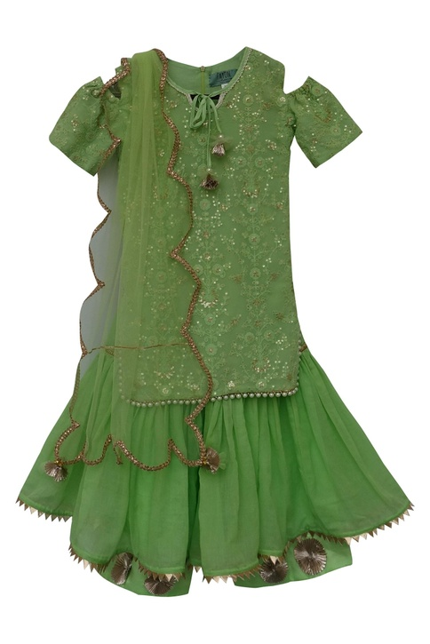 Embroidered kurta with dupatta & sharara
