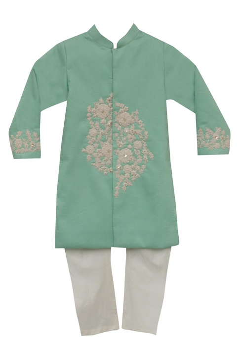 Cotton silkn embroidered sherwani
