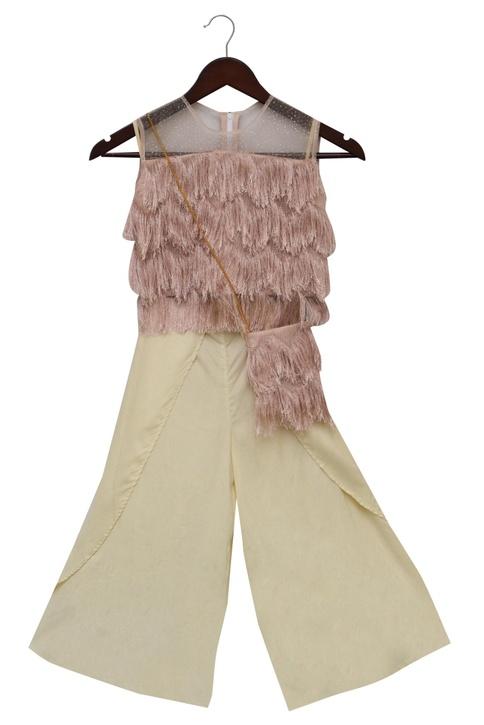 Palazzo pants with fringe top