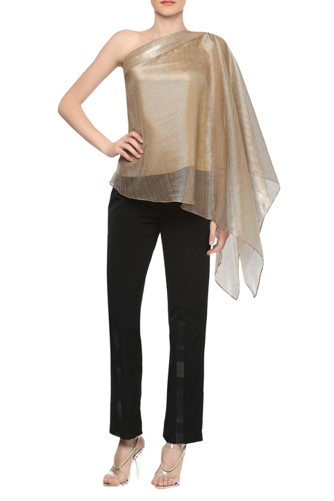 One shoulder draped sleeve top