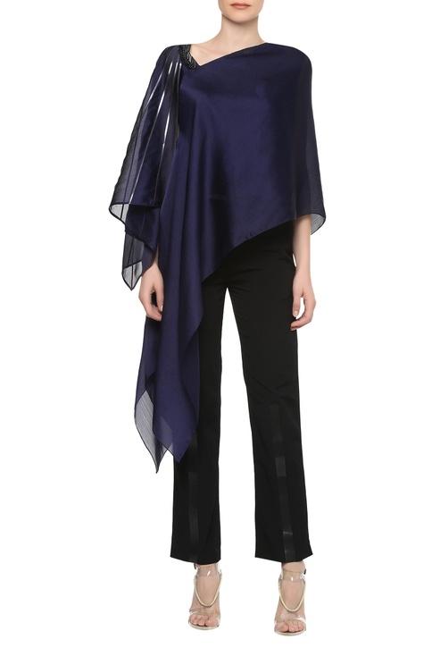Asymmetrical neckline top with handkerchief hem sleeve