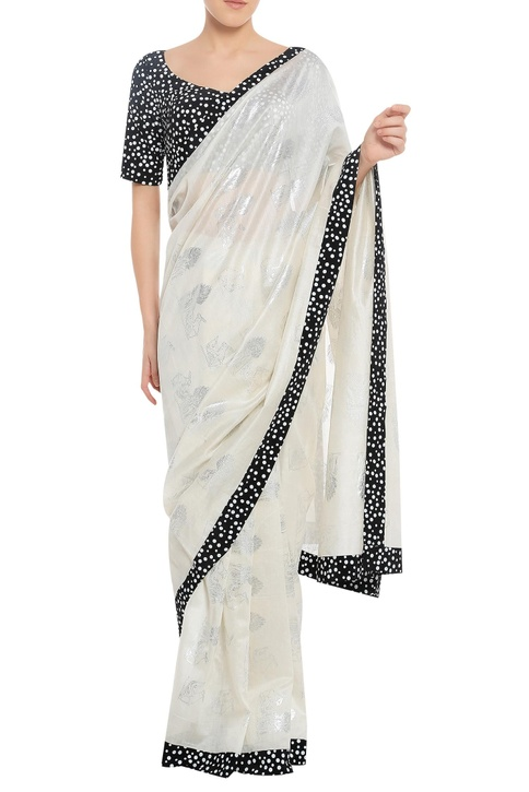 Polka dot border sari with unstitched blouse