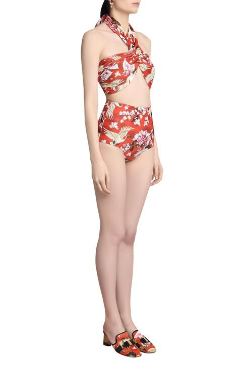 Printed halter high-waisted bikini set