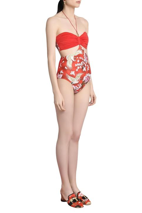 Tropical print bandeau swimsuit
