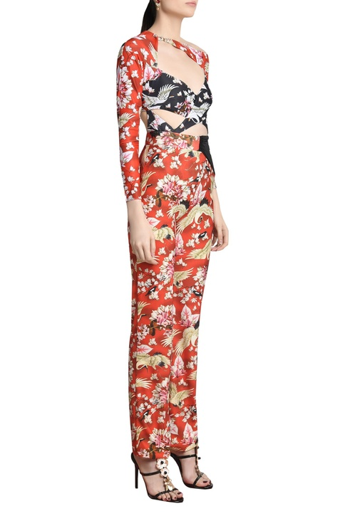 Floral printed ruched trousers