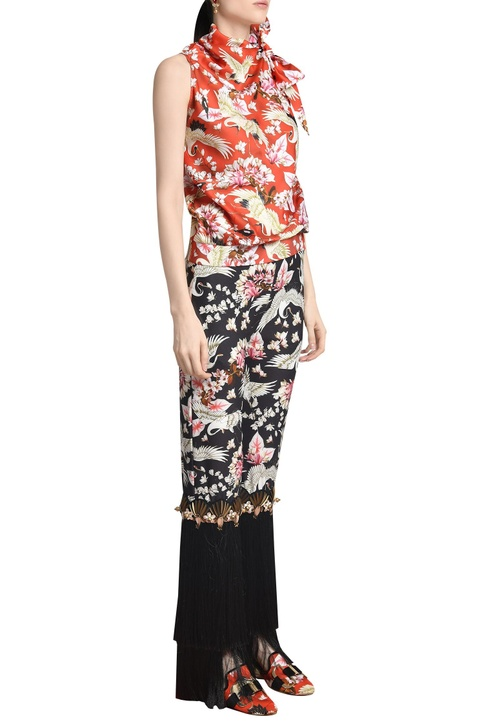 Printed asymmetric knotted blouse