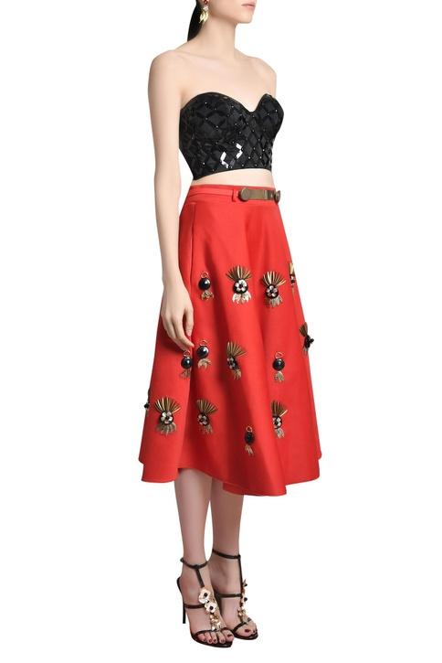 Embellished flared midi skirt