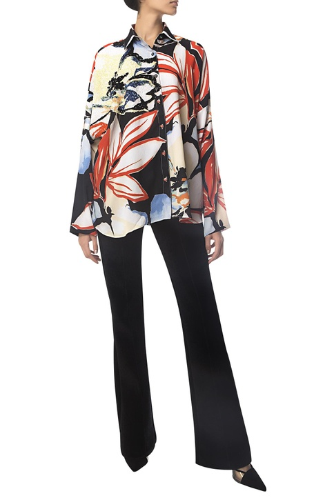 Floral Print Sequin Embroidered Shirt
