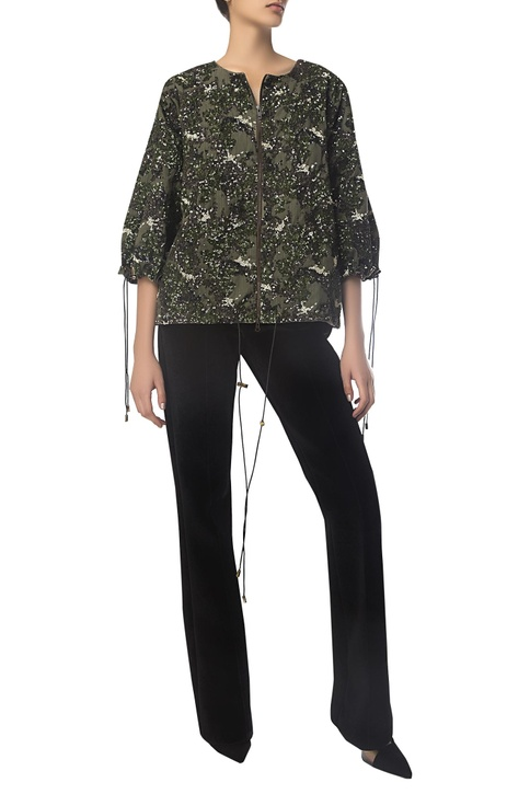 Sequin embroidered cropped jacket