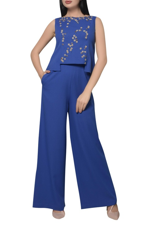 Embroidered layered jumpsuit
