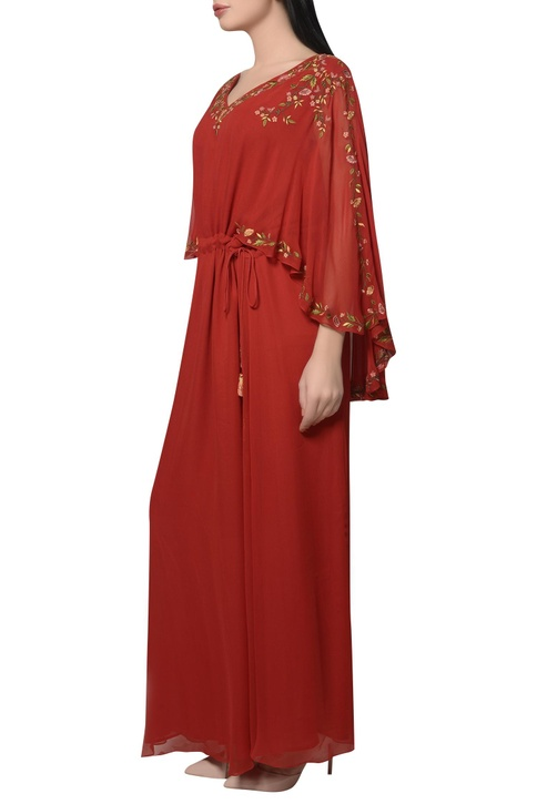 Embroidered cape kaftan dress