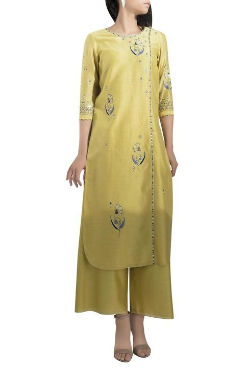 Embroidered straight kurta with palazzos