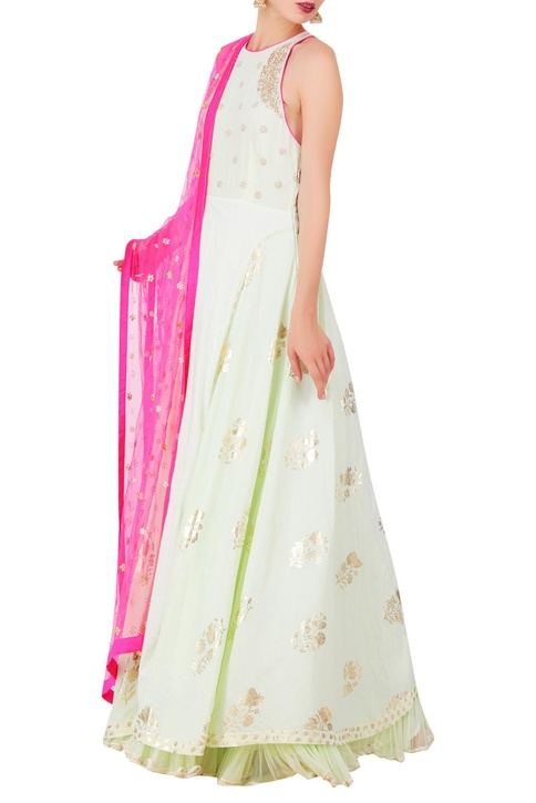 Embroidered anarkali with churidar & dupatta