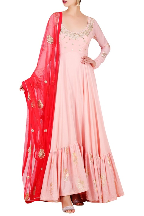 Embroidered & foil print anarkali with dupatta