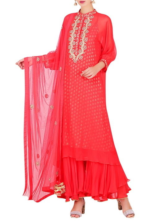 Lotus foil print & embroidered kurta with sharara & dupatta