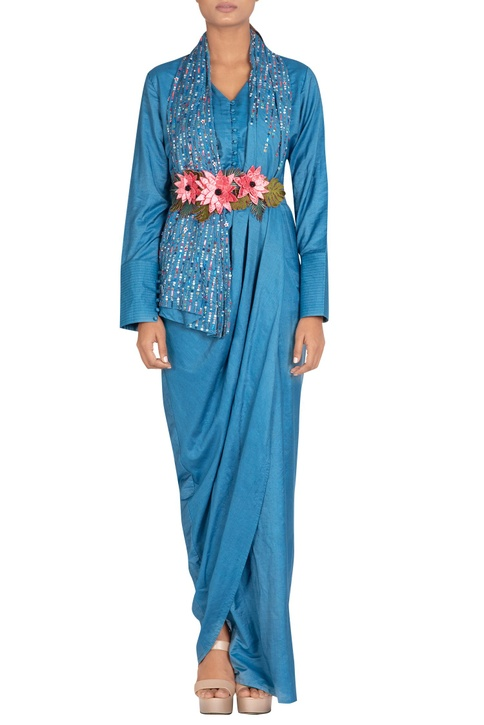 Dress with hand embroidered drape & belt