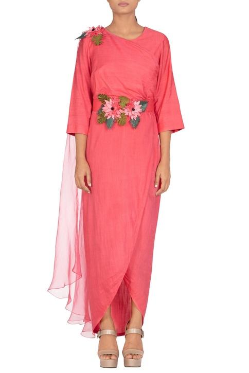 Asymmetric maxi dress with back drape