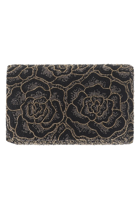 Embroidered Flat Flapover Clutch